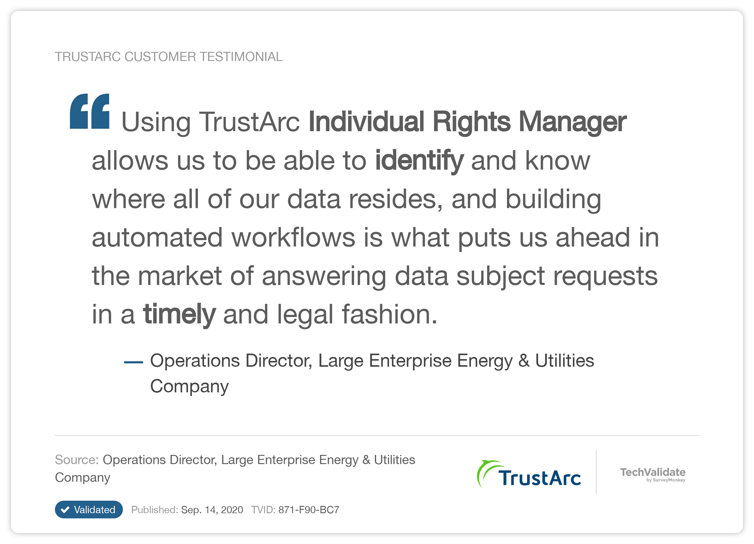 TrustArc DSAR Testimonial
