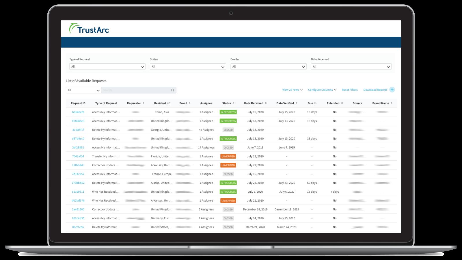 TrustArc Data Subject Request Management Portal