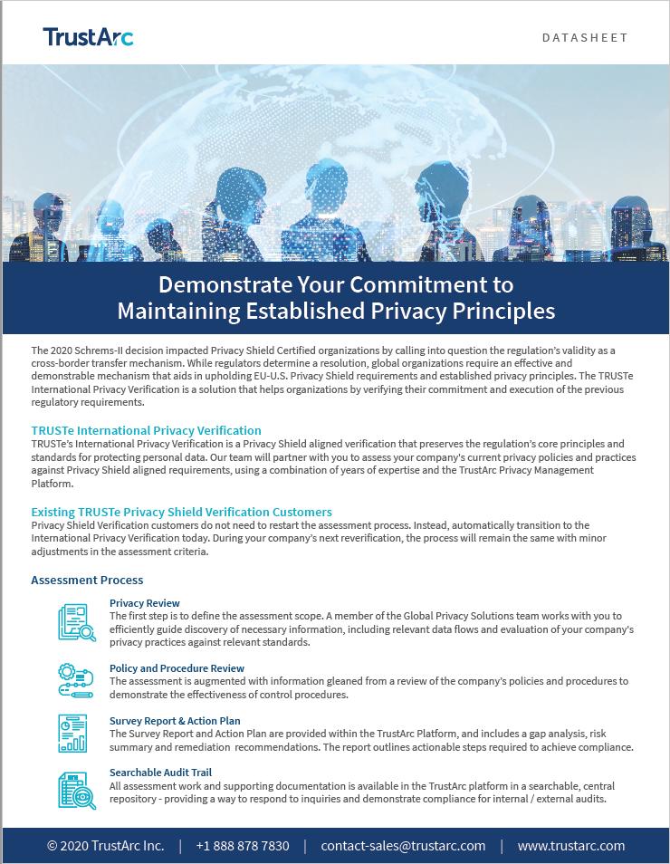 International Privacy Verification Datasheet