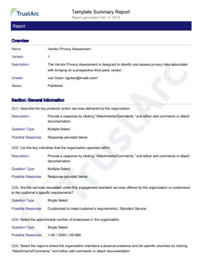 vendor-template-summary-report